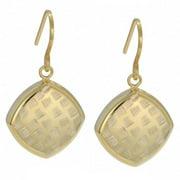 Fremada  10k Yellow Gold Diamond-cut Puffed Square Dangle Earrings