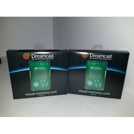 TWO GENUINE OEM SEGA DREAMCAST GREEN VISUAL LCD MEMORY UNIT CARD VMU OFFICIAL ()