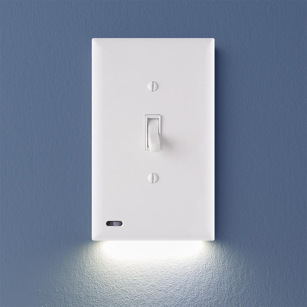 1 Pack Snappower Switchlight Led Night Light For Light Switches Light Switch Wall Plate With Built In Led Night Lights Bright Dim Off Options Automatically On Off Sensor Toggle