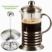 Ovente French Press Cafetière Coffee and Tea Maker, High-Grade Stainless Steel, Nickel Brushed, Heat-Resistant Borosilicate Glass, 34 oz (1005 ml), 8-cup, FREE Measuring Scoop (FSH34S)