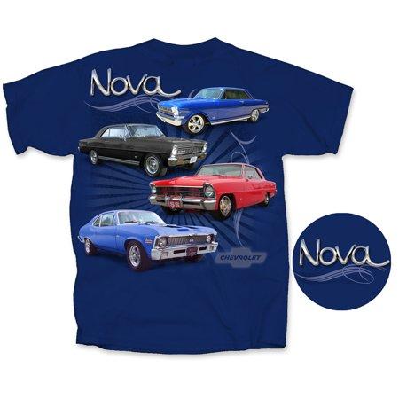 Joe Blow Cv4nv U Adl Chevy 4 Novas Vintage Short Sleeve Adult T Shirt Metro Blue