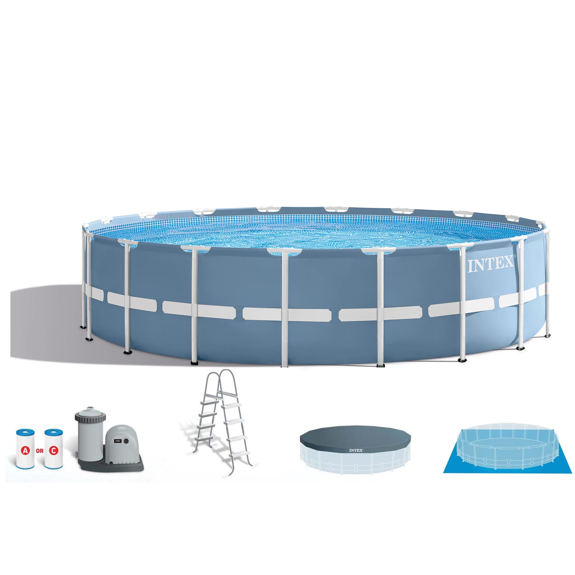 Intex 18 Feet x 48 Inches Prism Frame Swimming Pool Set Ladder, Cover, & Pump