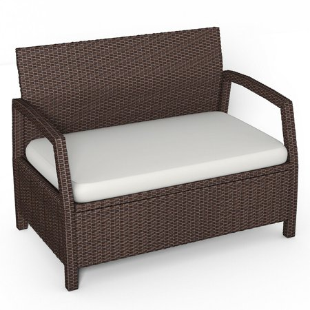 Costway Outdoor Rattan Loveseat Bench Couch ChairPatio Furniture Brown W/ Cushions New