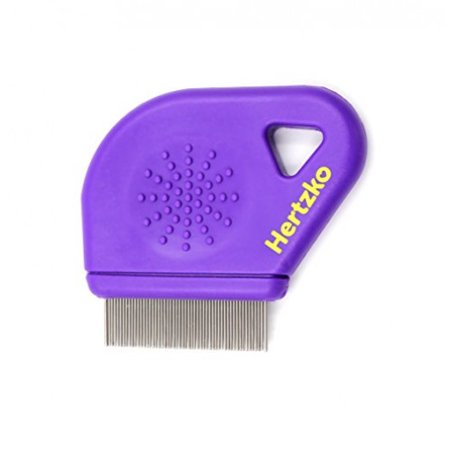 Flea Comb By Hertzko – Closely Spaced Metal Pins Removes Fleas, Flea Eggs, And Debris From Your Pet's Coat - 10mm Metal Teeth Are Great For Short Hair Areas - Suitable For Dogs And
