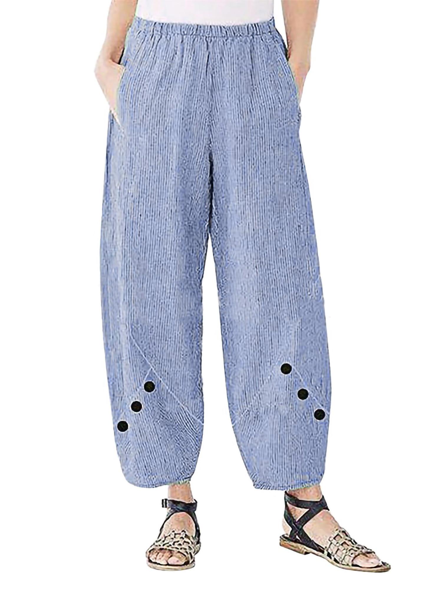 Plus Size Women/'s Cotton Linen Wide Leg Pants Casual Loose Palazzo Long Trousers