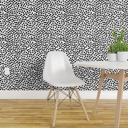 Wallpaper Roll Ink Spots White/Black Polka Dot Black And White Spot 24in x