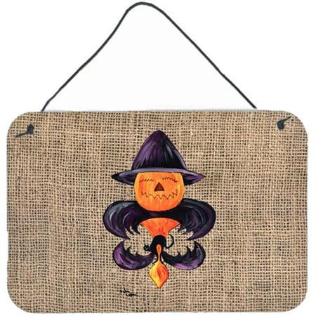 Halloween Pumpkin Bat Fleur de lis Indoor Aluminium Metal Wall Or Door Hanging Prints - image 1 de 1