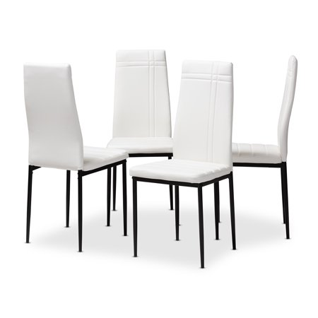Astonishing Set Of 4 Baxton Studio Matiese Modern And Contemporary White Faux Leather Upholstered Dining Chairs Ibusinesslaw Wood Chair Design Ideas Ibusinesslaworg