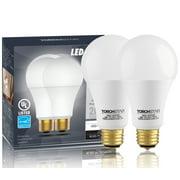 2 PACK 3 Way A21 LED Light Bulb, 40/60/100W Equivalent, ENERGY STAR + UL-listed, 5000K Daylight, E26 Medium Screw Base