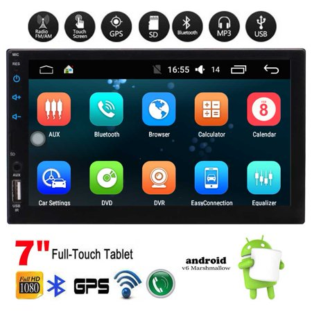 - 7 inch Universal Android 6.0 Car Stereo Radio Head Unit Autoradio GPS Navi in Dash Audio Video System support Bluetooth WiFi Mirror Link 1G + 16GB Music Entertainment System Capacitive Touch Scree