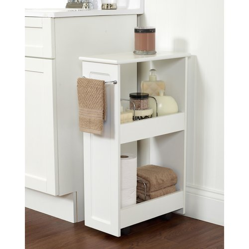 Zenith Products 2-Shelf Rolling Bath Cart, White