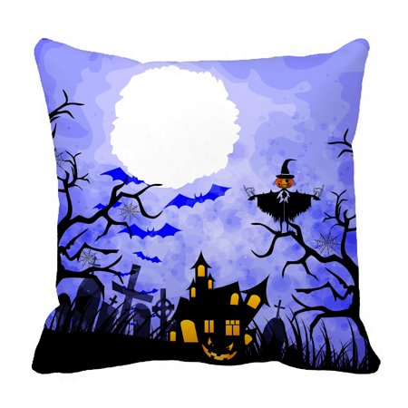 YKCG Halloween Pumpkin Scarecrows Starry Night Black Trees Pillowcase Pillow Cushion Case Cover Twin Sides 18x18 inches - Halloween Is Black As Night Chords
