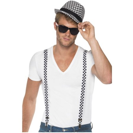 1970s Suspenders And Hat Ska Artist Two Tone Kit Costume Accessory - Halloween Party In Jamaica