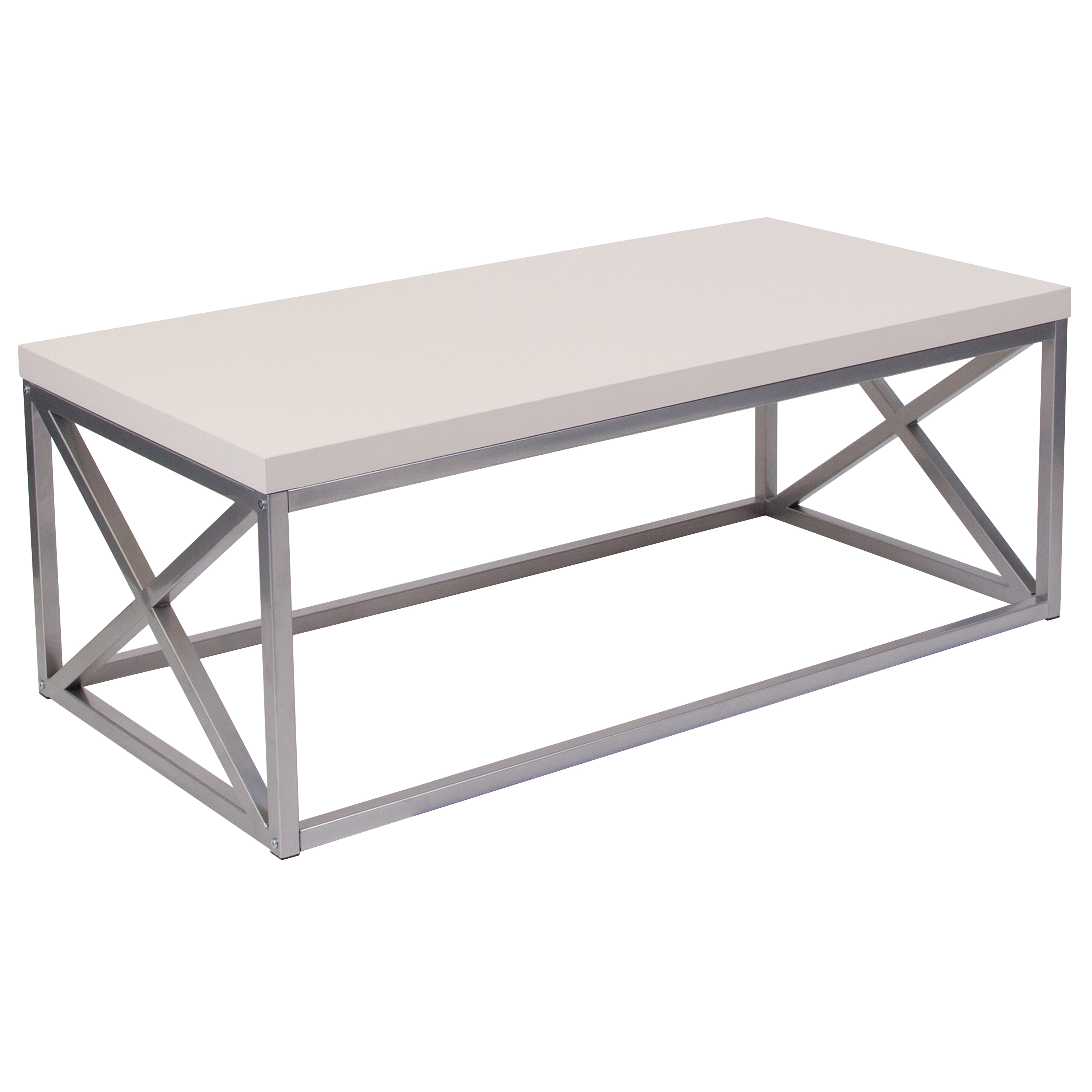 Flash Furniture Park Ridge Cream Coffee Table with Silver Finish Frame