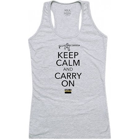 RapDom Keep Calm Carry On Graphic Womens Tank Top [Heather Grey -