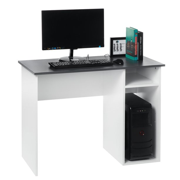 Computer Desk Writing Study Student Laptop Table with Storage Organizer Shelves for Home Office
