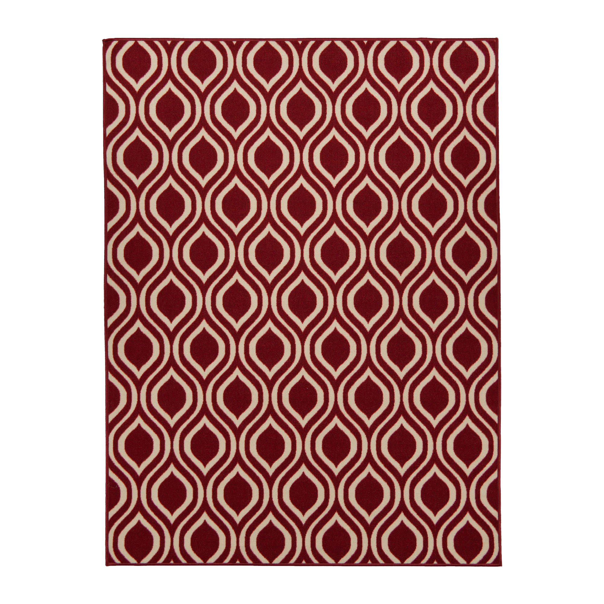 Berrnour Home Rose Collection Red Moroccan Trellis Design Area Rug With Non-Skid (Non-Slip) Rubber Backing