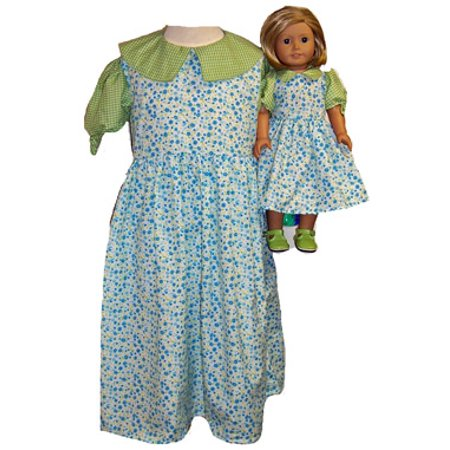 Matching Girls Dolls Clothes Blue Green Dress Size 5