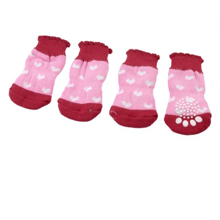 2 Pairs Anti Slip Paw Printed Acrylic Doggie Puppy Pet Socks Red Pink White - image 1 of 1