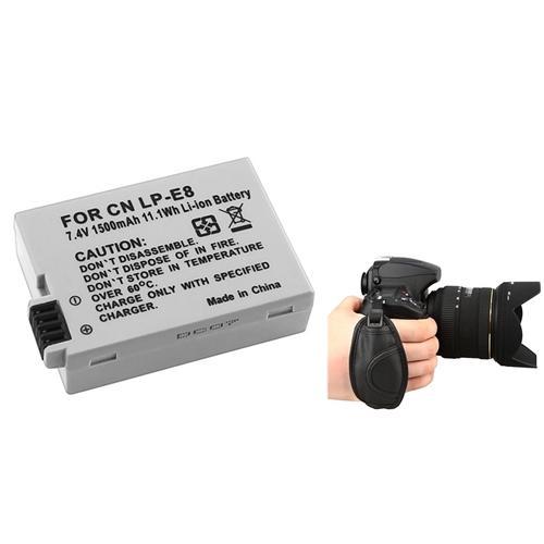 Insten 1-Pack LP-E8 Battery For Canon EOS Rebel T2i T3i T4i / EOS 550D 600D 650D / Kiss X5 X6i + Hand Waist Strap