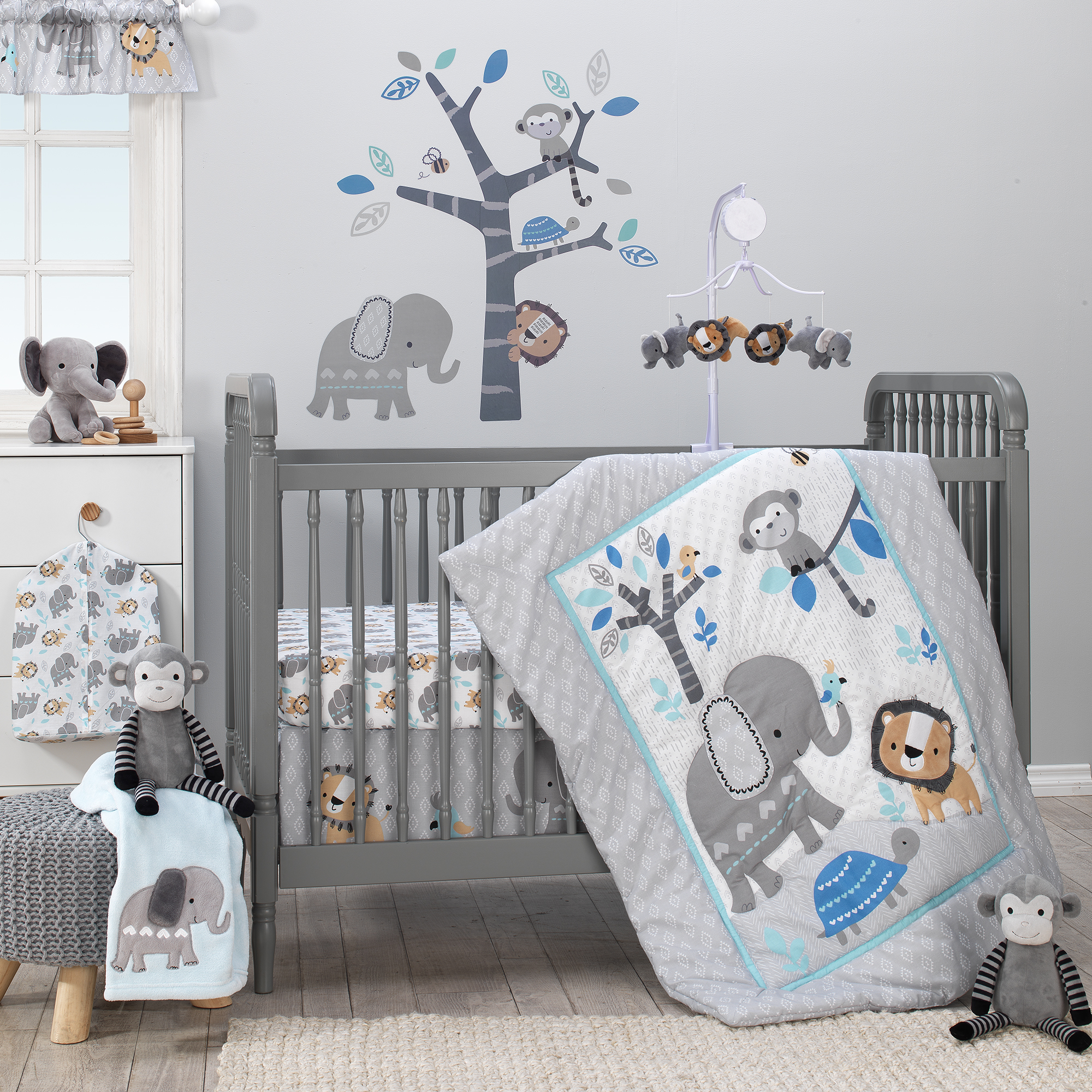 Bedtime Originals Jungle Fun 3-Piece Crib Bedding Set - Blue, Gray, White