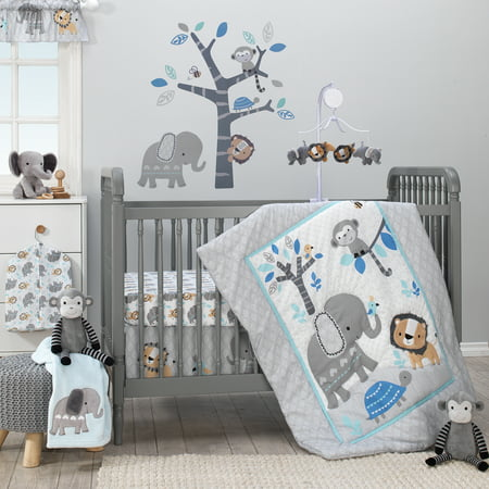 Bedtime Originals Jungle Fun 3-Piece Crib Bedding Set - Blue, Gray, White (Bedding Set For Baby Boy Crib)