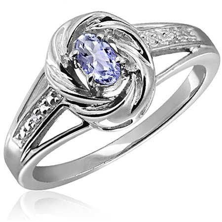 JewelersClub 0.24 Carat Tanzanite Gemstone and Accent White Diamond Ring