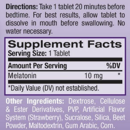 4 Pack - Natrol Sleep Fast Dissolve Melatonin Tablets 10 mg, Strawberry  Flavor 60 ea