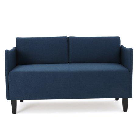 Meyer Mid-Century Fabric Loveseat , Dark Blue