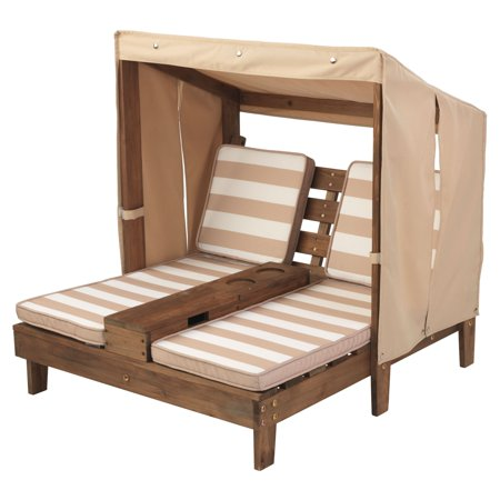 kidkraft outdoor wooden double chaise lounger with cup holder oatmeal and white. Black Bedroom Furniture Sets. Home Design Ideas