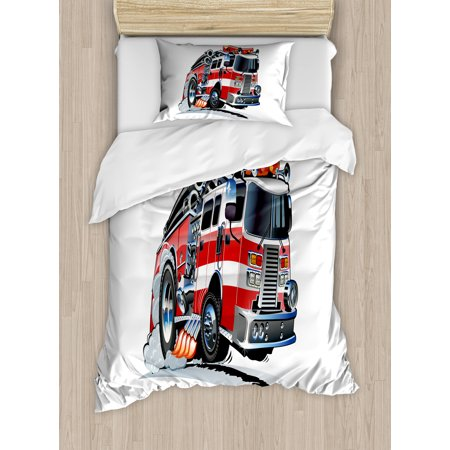 Truck Twin Size Duvet Cover Set, Security of the Public Themed Speeding Vehicle Fire Department Dangerous Job, Decorative 2 Piece Bedding Set with 1 Pillow Sham, Baby Blue Scarlet, by Ambesonne ()