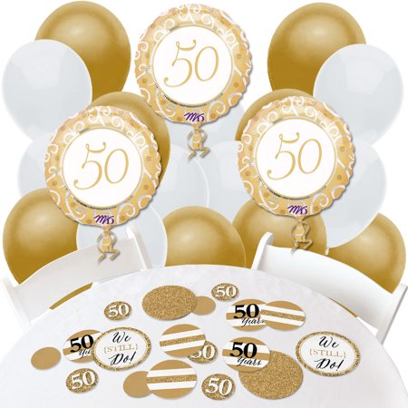 We Still Do - 50th Wedding Anniversary - Confetti and Balloon Anniversary Party Decorations - Combo Kit (50th Wedding Anniversary Table Centerpieces)