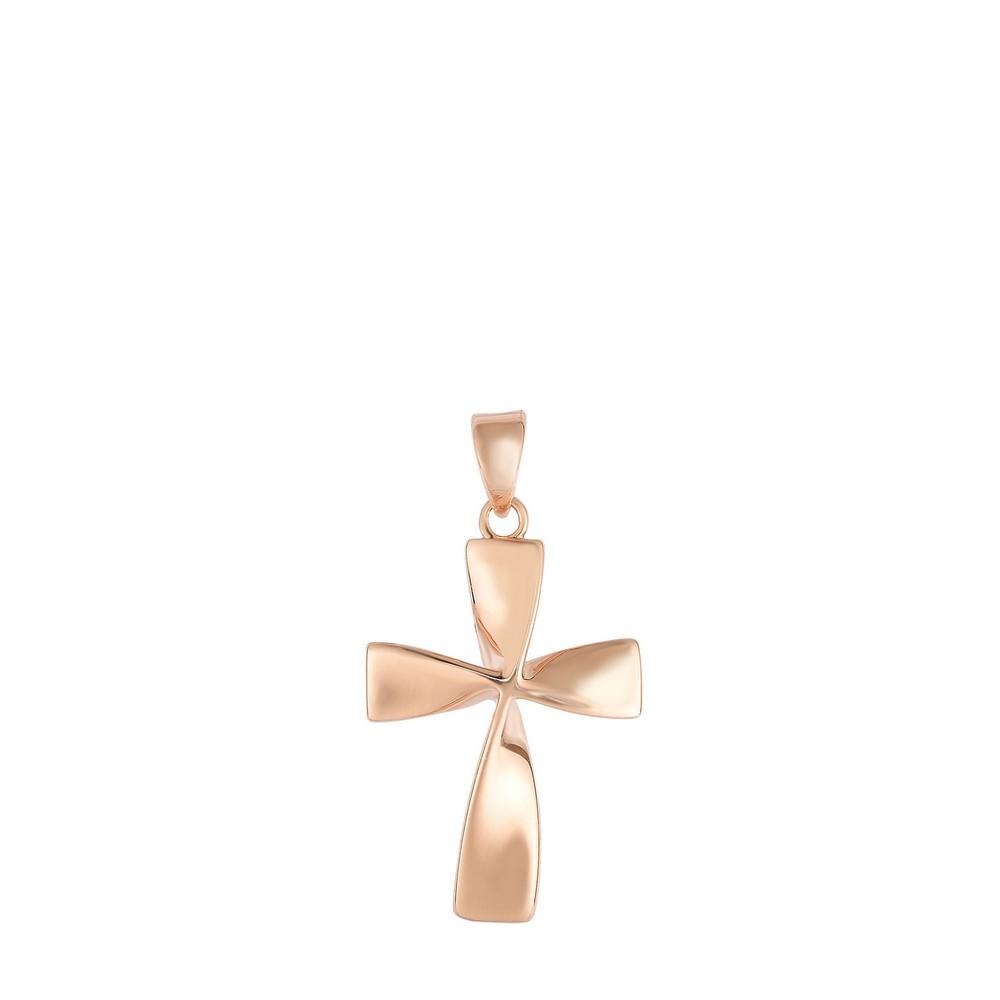14k Rose Gold Square Flat Twisted Cross Pendant - 1.3 Grams