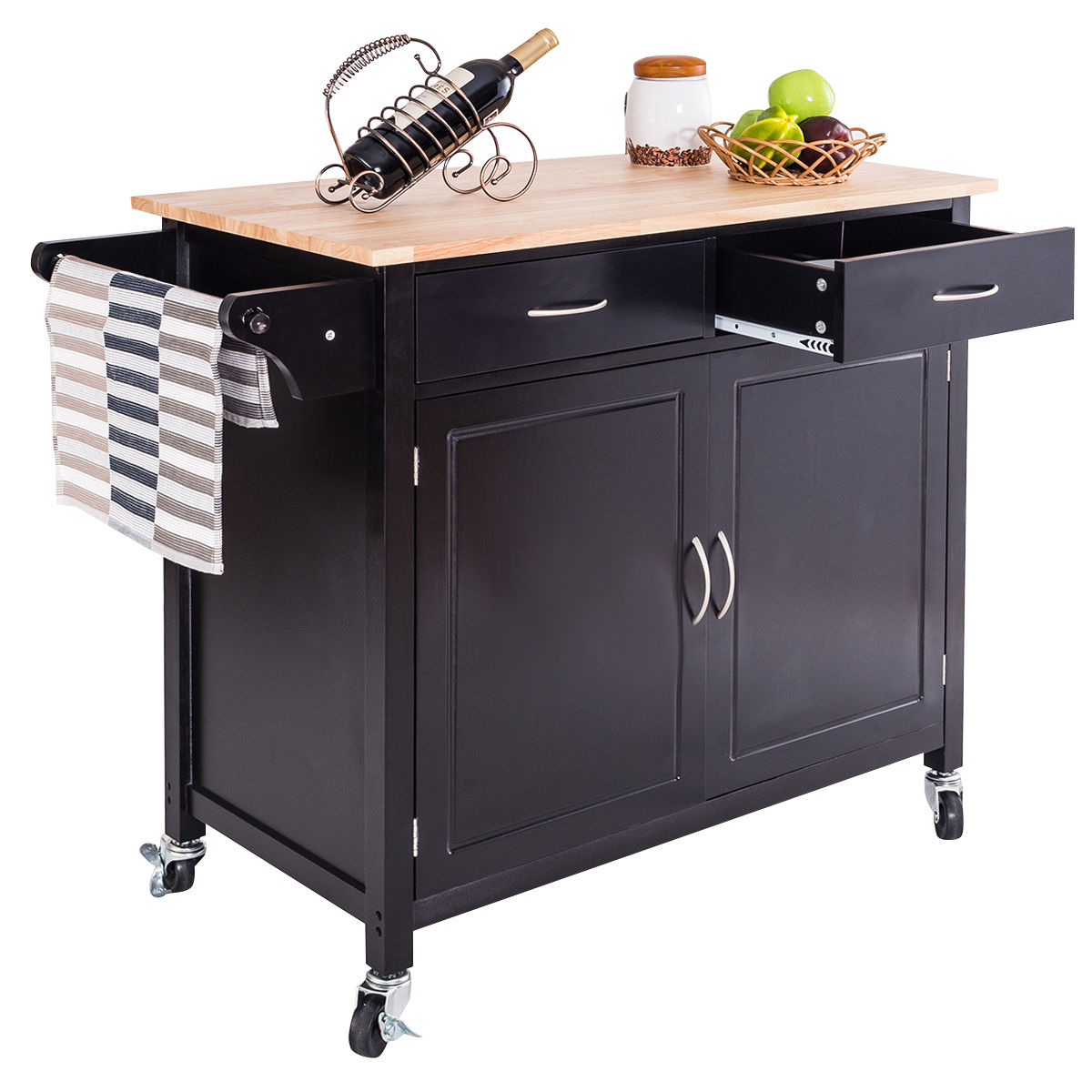 rolling islands for kitchen goplus rolling kitchen cart island wood top storage 21545