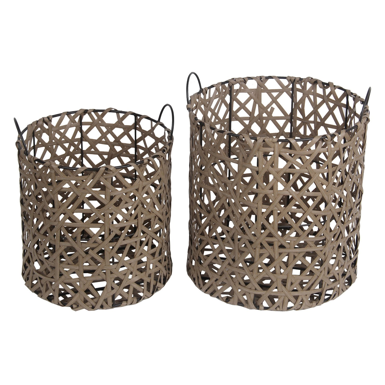 Privilege International Round Wicker Basket Set of 2 by Privilege