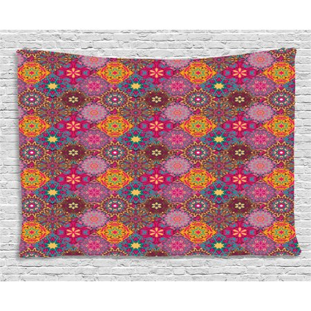 Moroccan Tapestry, Vibrant Artistic Mandala Motifs in Squares Eastern Henna Folk Patchwork Style, Wall Hanging for Bedroom Living Room Dorm Decor, 80W X 60L Inches, Multicolor, by Ambesonne
