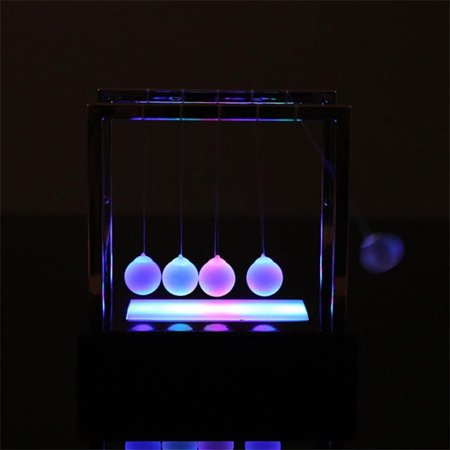 Newtons Cradle LED Light Up Kinetic Energy Home Office Science Toys Home Decor - Science Decor