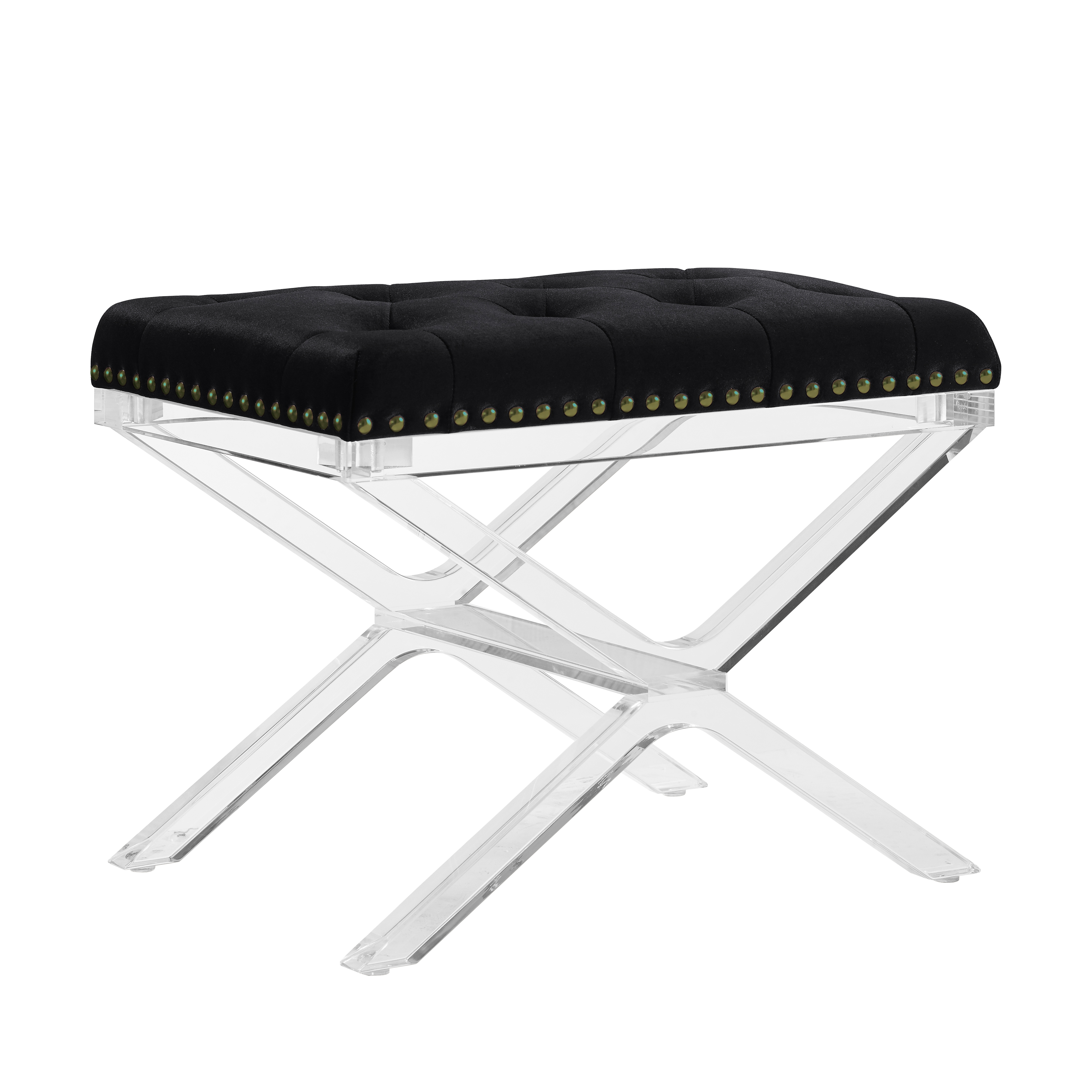 Linon Kelsi X Base Vanity Bench, Black, Clear Legs, 18 inches Tall by Linon