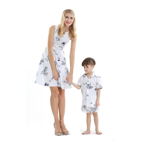 Matching Mother Son Hawaiian Luau Outfit Women Vintage Dress Boy Shirt Shorts Classic White Flamingo M-2 (Mother And Son Matching Clothes)