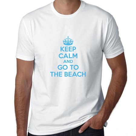 Keep Calm & Go to the Beech - Cool Ocean Blue Lettering Men's T-Shirt