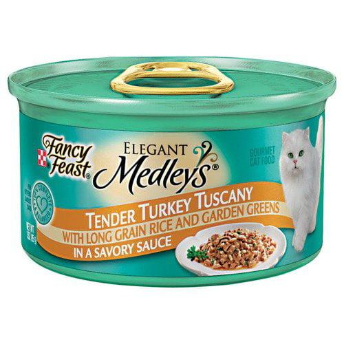 Fancy Feast Elegant Medleys: Tender Turkey Tuscany In Sauce w/Rice & Garden Greens Cat Food, 3 Oz