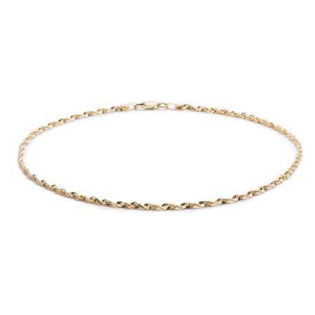 Floreo 10k Yellow Gold Solid Extra Light Diamond Cut Rope Chain Bracelet and Anklet for Men and Women, 1.5mm