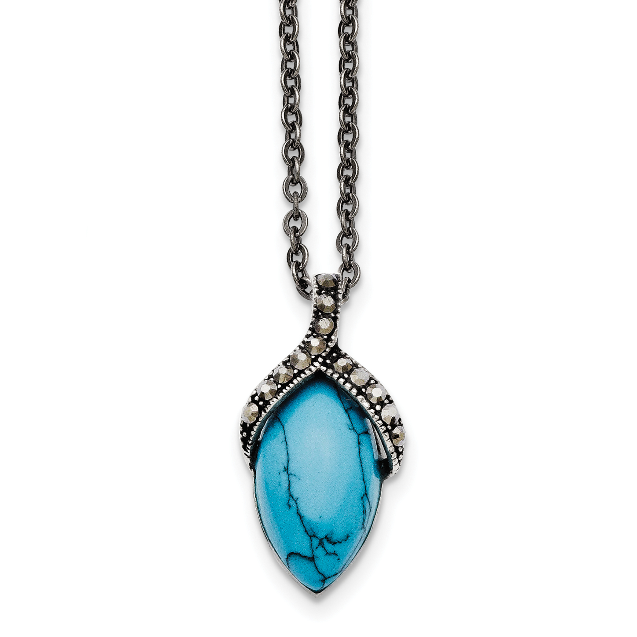 Stainless Steel Simulated Turquoise Marcasite Antiqued Necklace SRN1370 by Chisel