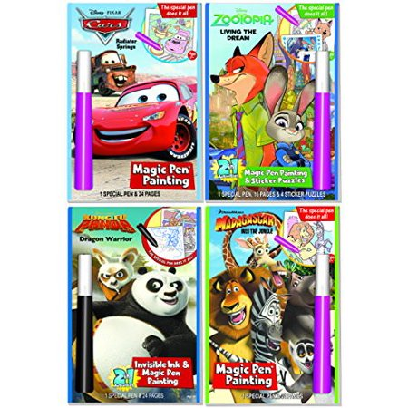 disney and dreamworks characters magic pen painting activity books