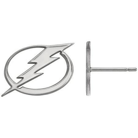 LogoArt 14 Karat White Gold NHL Tampa Bay Lightning Small Post Earrings