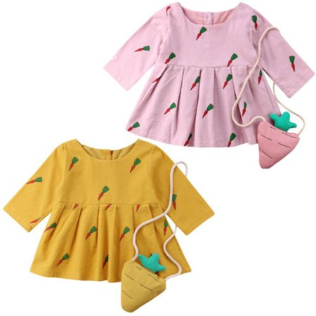 Newborn Baby Kids Girl Carrot Long Sleeve Party Princess Tutu Dress+Bag Outfits