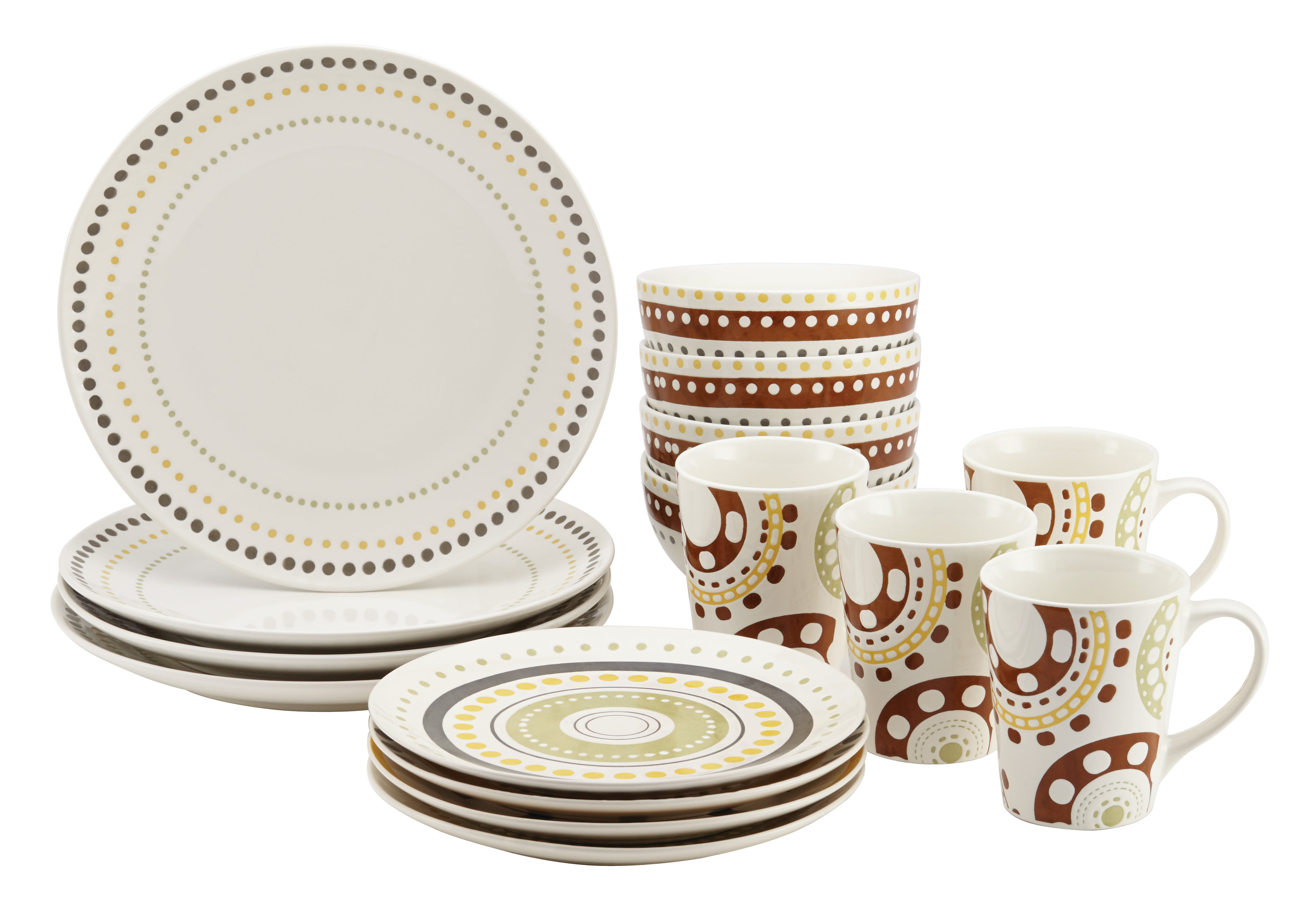 Rachael Ray Circles and Dots Stoneware 16-Piece Dinnerware Set - Walmart.com  sc 1 st  Walmart & Rachael Ray Circles and Dots Stoneware 16-Piece Dinnerware Set ...