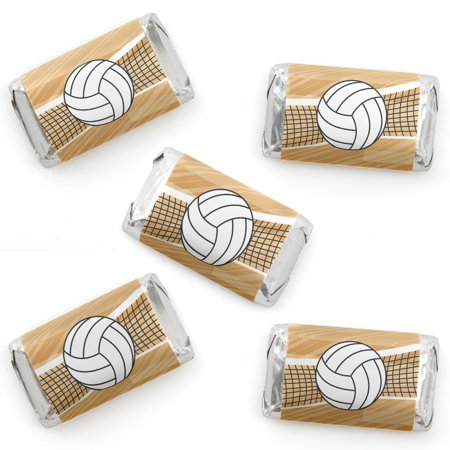 Volleyball Party Supplies (Bump, Set, Spike - Volleyball - Mini Candy Bar Wrapper Stickers - Baby Shower or Birthday Party Small Favors - 40)