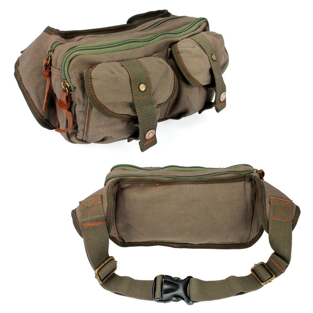 Men's Military Canvas Waist Leg Fanny Vintage Travel Waist Hip Pack Messenger Hiking Bag Wallet -Green