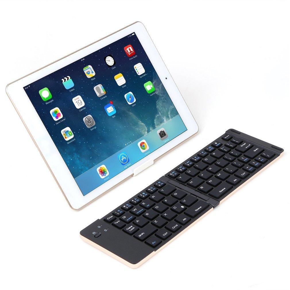 Mini Wireless Keyboard Bluetooth 3.0 Foldable 66 Keys Ultra Thin Aluminum Alloy Keyboard Universal for Tablet PC Smart Phone